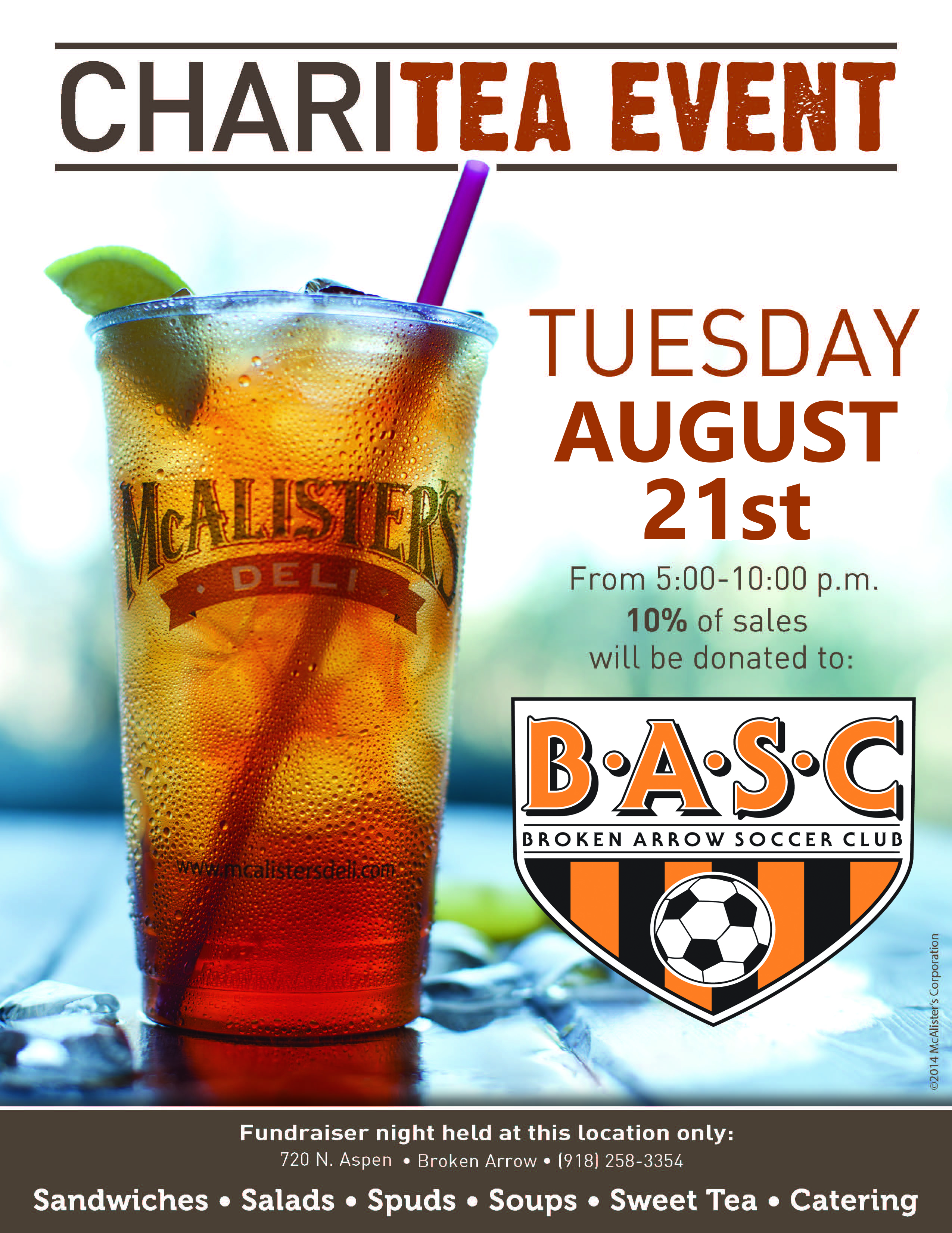 McAlister's Charitea Event August 21st!!