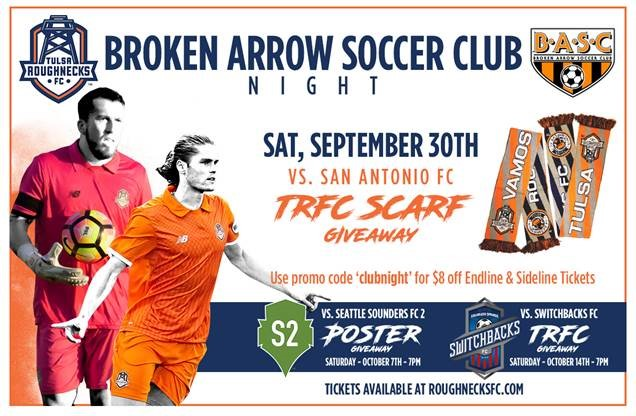 BASC CLUB NIGHT @ Tulsa Roughnecks Saturday, Sept. 30th